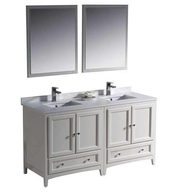 Fresca fvn20 3030aw oxford 60 inch antique white for Antique white double sink bathroom vanities