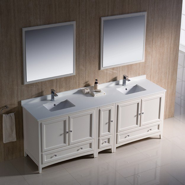Fresca Fvn20 361236aw Oxford 84 Inch Antique White Traditional Double Sink Bathroom Vanity W
