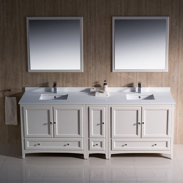 Fresca fvn20 361236aw oxford 84 inch antique white traditional double sink bathroom vanity w 84 inch double sink bathroom vanity