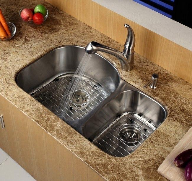 Kraus KBU23 32 Inch Undermount 60/40 Double Bowl Kitchen Sink 16 Gauge