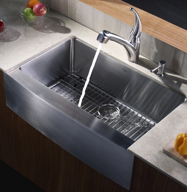 Inch Farmhouse Apron Single Bowl 16 Gauge Stainless Steel Kitchen Sink ...