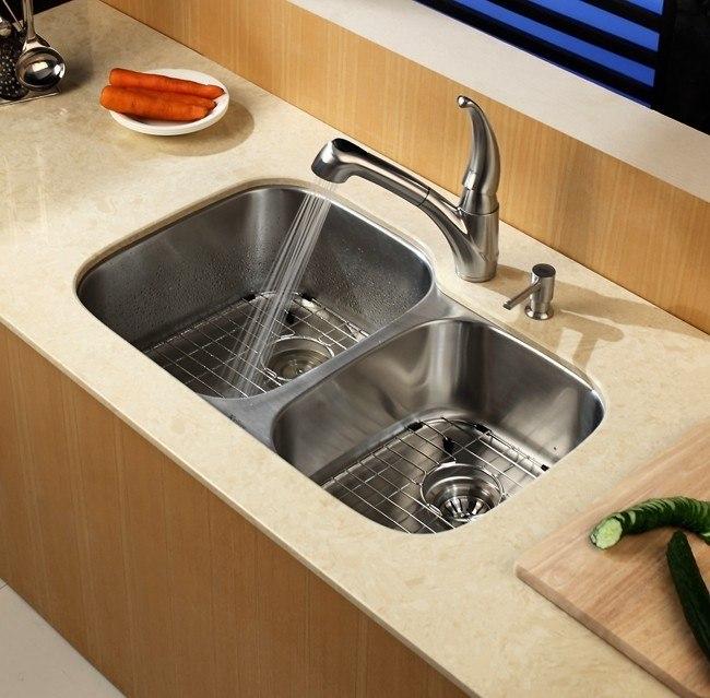 32 Inch Undermount Kitchen Sink: Kraus KBU24 32 Inch Undermount 60/40 Double Bowl 16 Gauge