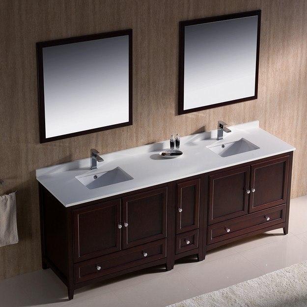 Fresca Fvn20 361236mh Oxford 84 Inch Mahogany Traditional Double Sink Bathroom Vanity W Side