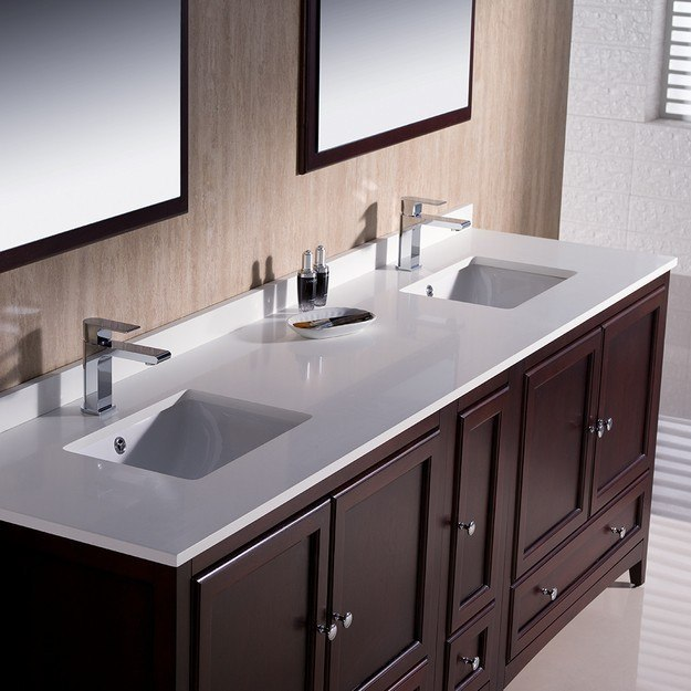 Fresca Fvn20 361236mh Oxford 84 Inch Mahogany Traditional Double Sink Bathroom Vanity W Side