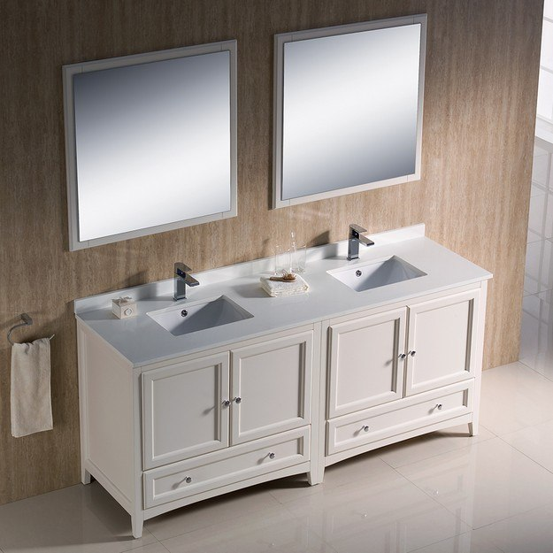 Fresca Fvn20 3636aw Oxford 72 Inch Antique White Traditional Double Sink Bathroom Vanity