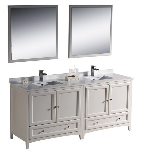 Fresca fvn20 3636aw oxford 72 inch antique white traditional double sink bathroom vanity for Antique white double bathroom vanity