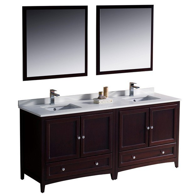 Fresca Fvn20 3636mh Oxford 72 Inch Mahogany Traditional Double Sink Bathroom Vanity Fvn203636mh