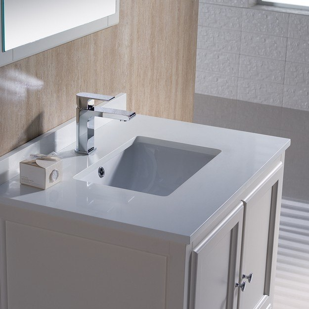 Fresca FVN2030AW Oxford 30 Inch Antique White Traditional Bathroom Vanity Fr