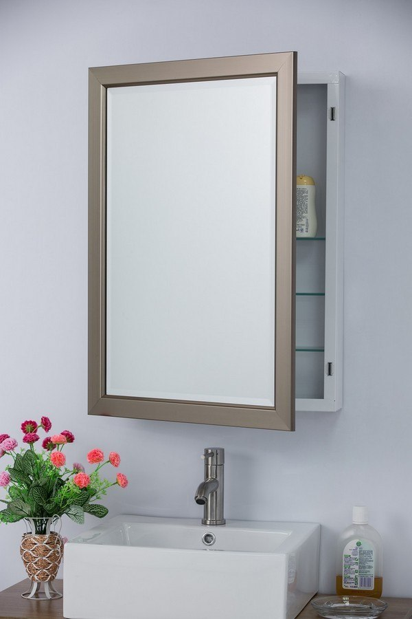 Bellaterra home 808901 mc mirrored medicine cabinet with frame 808901 mc 808901mc - Moderne badkamerkast ...