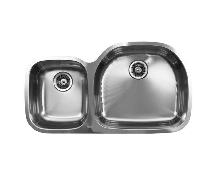 Ukinox D537.60.40.10R 37 Inch Undermount Double Bowl Sink 10 Inch Bowl Depth: Right Hand Side