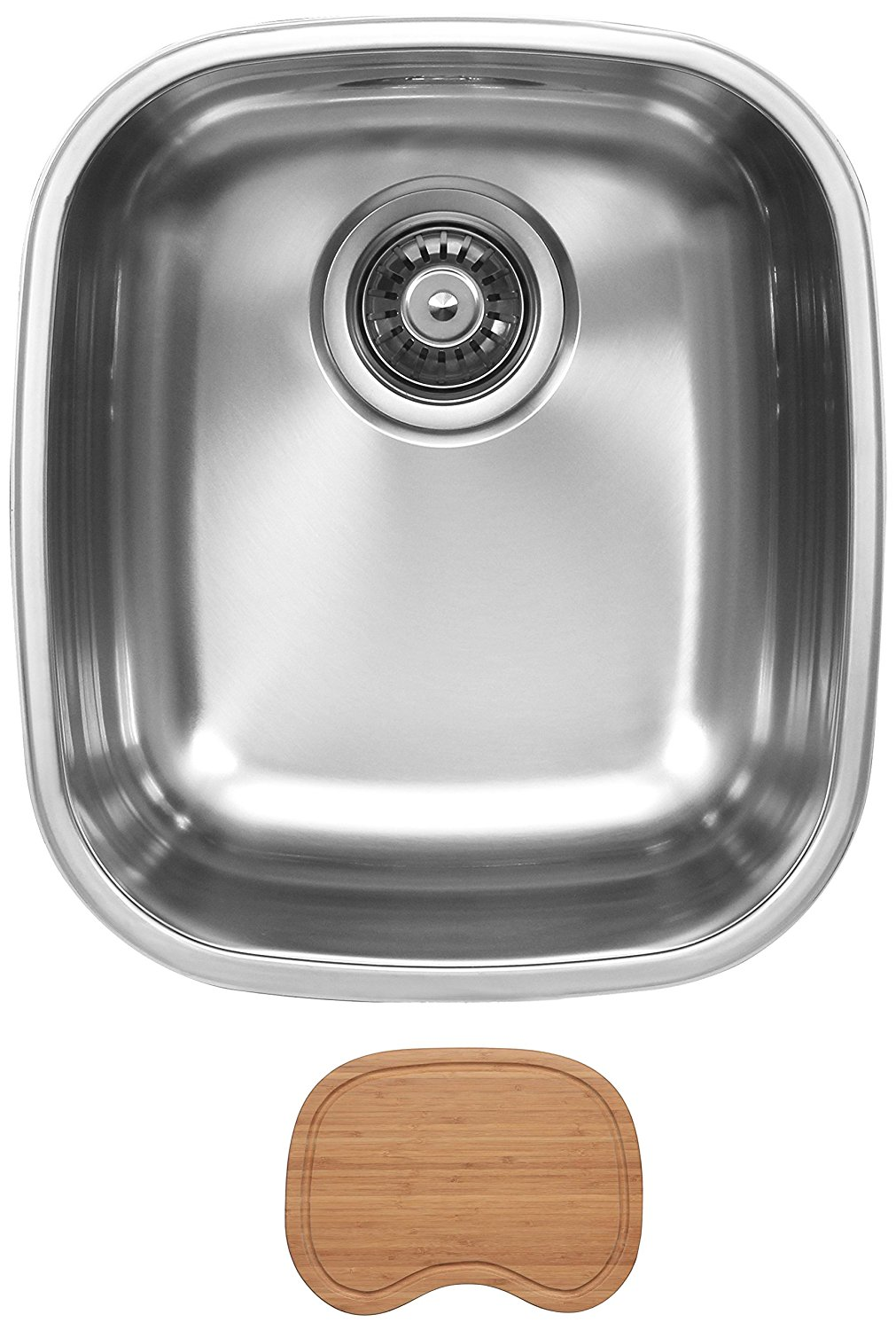 Ukinox D345.8C Undermount Single Bowl Stainless Steel Kitchen Sink With Cutting Board