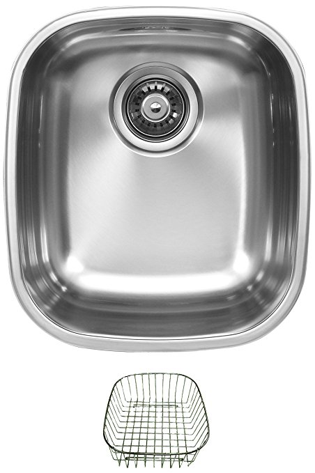 Ukinox D345.8RB Undermount Single Bowl Stainless Steel Kitchen Sink With Rinsing Basket