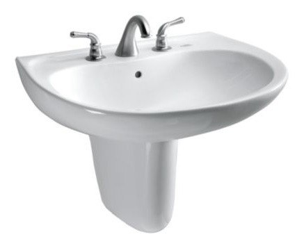Toto LHT241.8G Supreme 22-7/8 x 19-5/8 Inch Wall-Mount Lavatory with 8 Inch Faucet Centers with SanaGloss