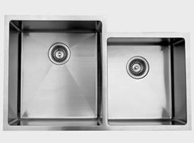 Ukinox RS420.60.40.10L 33 Inch Undermount Double Bowl Sink 10 Inch Bowl Depth: Left Hand Side