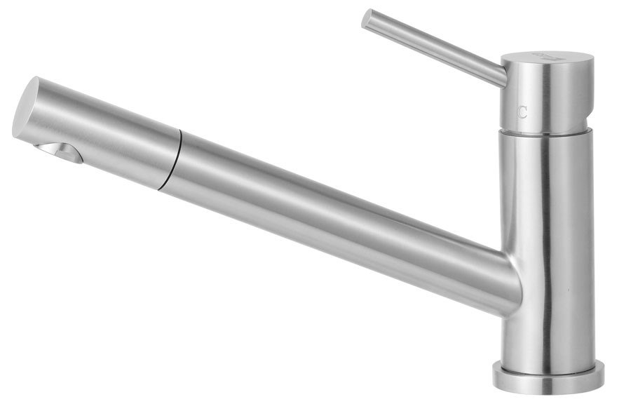 Alfi Brand AB2025 Solid Stainless Pull Out Single Hole Kitchen Faucet