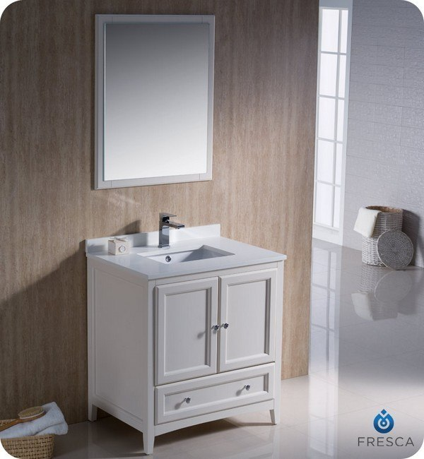 Fresca Fvn2030aw Oxford 30 Inch Antique White Traditional Bathroom Vanity Fresca Vanity Fresca