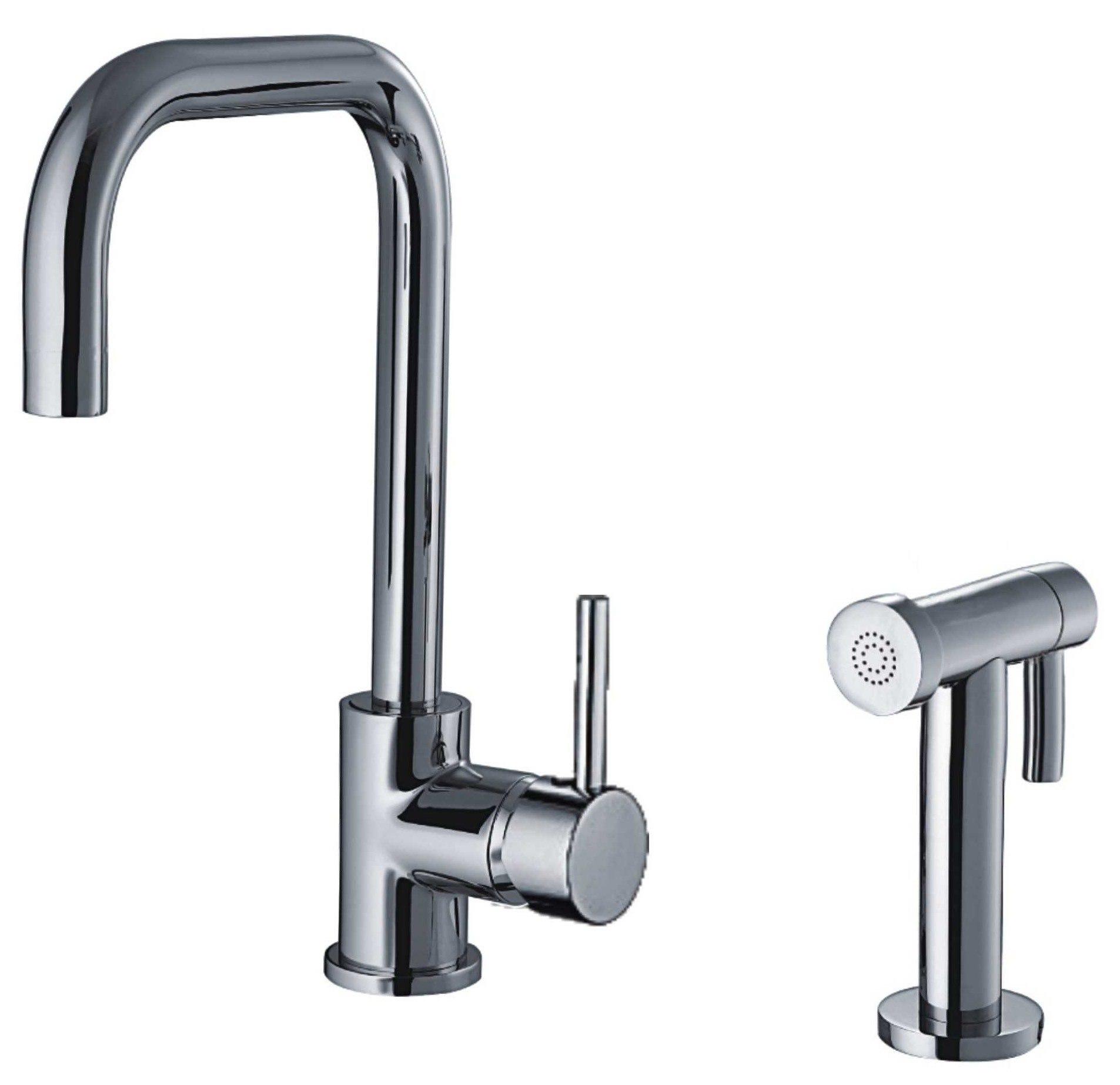 Whitehaus WH2070826 Jem Collection Single Hole/Single Lever Handle Faucet w/ Swivel Spout & Side Spray