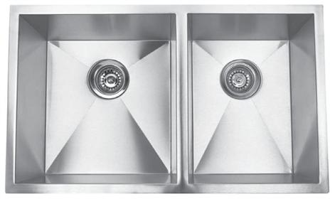 Yosemite Home Décor MAGRA3219BL 32 Inches Undermount Right-Angled Double Bowl Kitchen Sink
