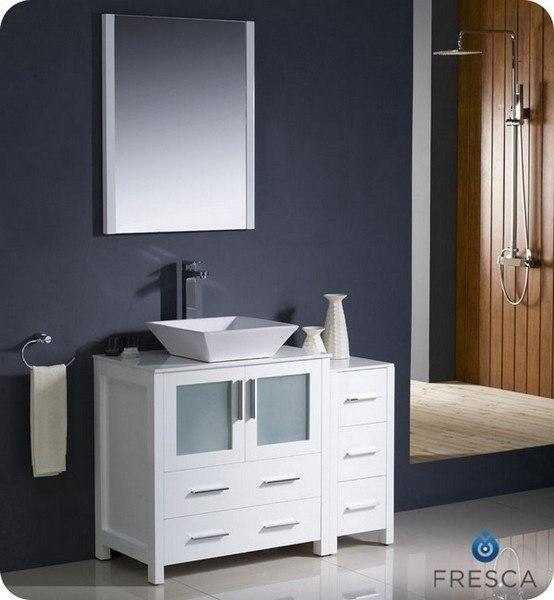 Fresca FVN62-3012WH-VSL Torino 42 Inch White Modern Bathroom Vanity w/ Side Cabinet & Vessel Sink