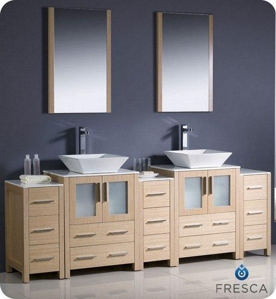 Fresca Fvn62 72lo Vsl Torino 84 Inch Light Oak Modern Double Sink Bathroom Vanity W 3 Side