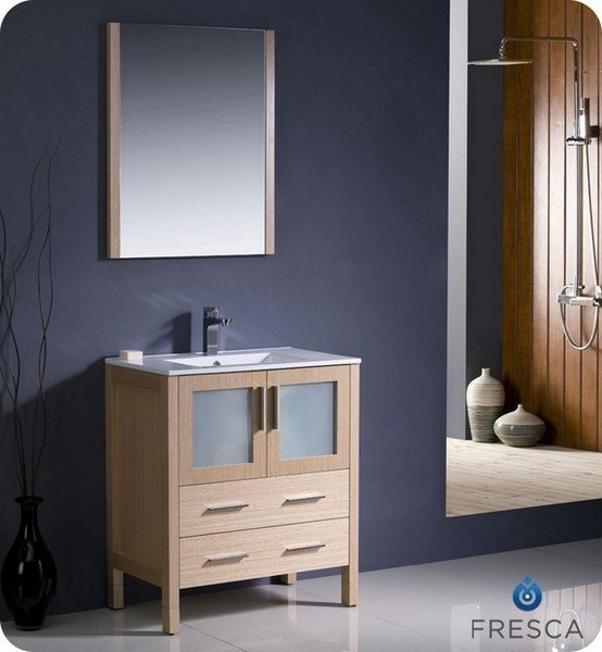 Fresca Fvn6230lo Uns Torino 30 Inch Light Oak Modern Bathroom Vanity W Undermount Sink