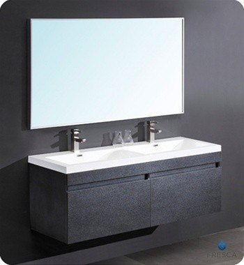 Fresca FVN8040BW Largo 56.63 Inch Black Modern Bathroom Vanity w/ Wavy Double Sinks