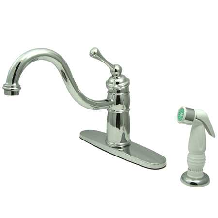 Kingston Brass Victorian Mono Deck Mount Kitchen Faucet w/ BL Handle & PLT Sprayer