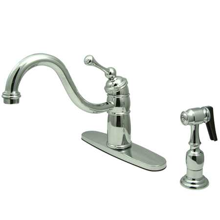 Kingston Brass KB157BLBS Victorian Mono Deck Mount Kitchen Faucet w/ BL Handle & Brass sprayer