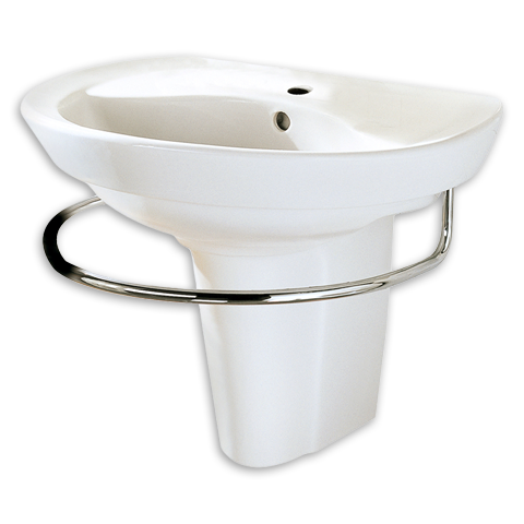 19 Inch Pedestal Sink : ... 19-2/5 Inch Porcelain D-Shaped Pedestal Sink in White with Partial Leg