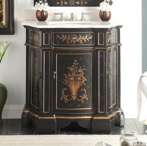 Chans Furniture HF090BK Crossfield 35 Inch Vintage Black