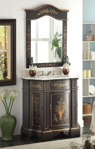Chans Furniture Hf090bk Mir Crossfield 35 Inch Vintage Black Hand Painted Bathroom Sink Vanity