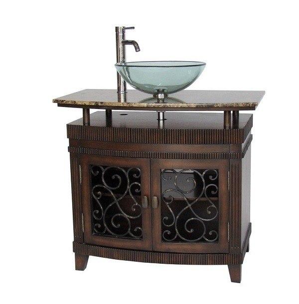 Chans Furniture Q226bn Artturi 36 Inch Brown Bathroom Vessel Sink Vanity