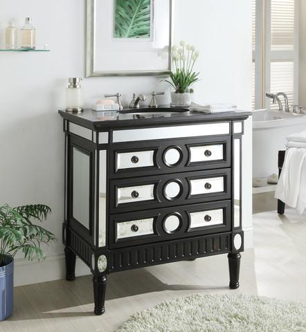 chans furniture hf0534gt ambrosia 32 inch black mirrored bathroom sink