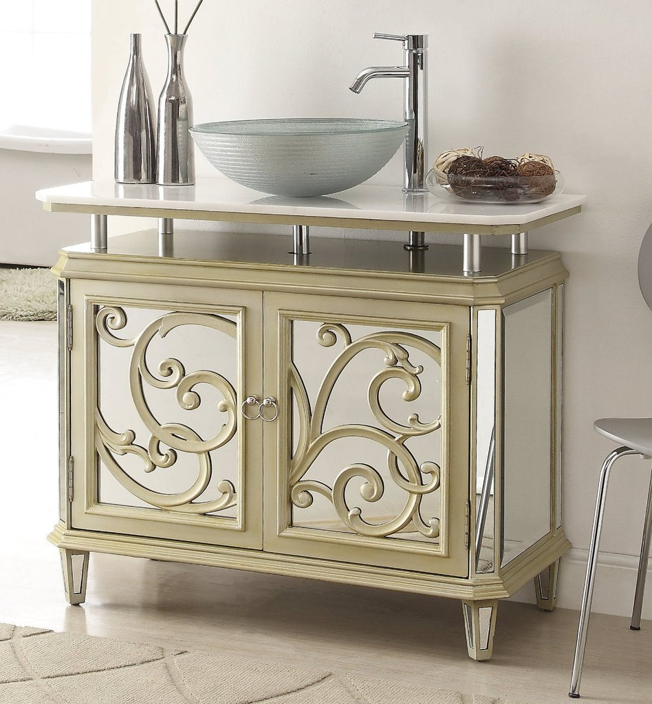 chans furniture hfz250 idella 39 inch champagne gold bathroom vessel sink vanity. Black Bedroom Furniture Sets. Home Design Ideas