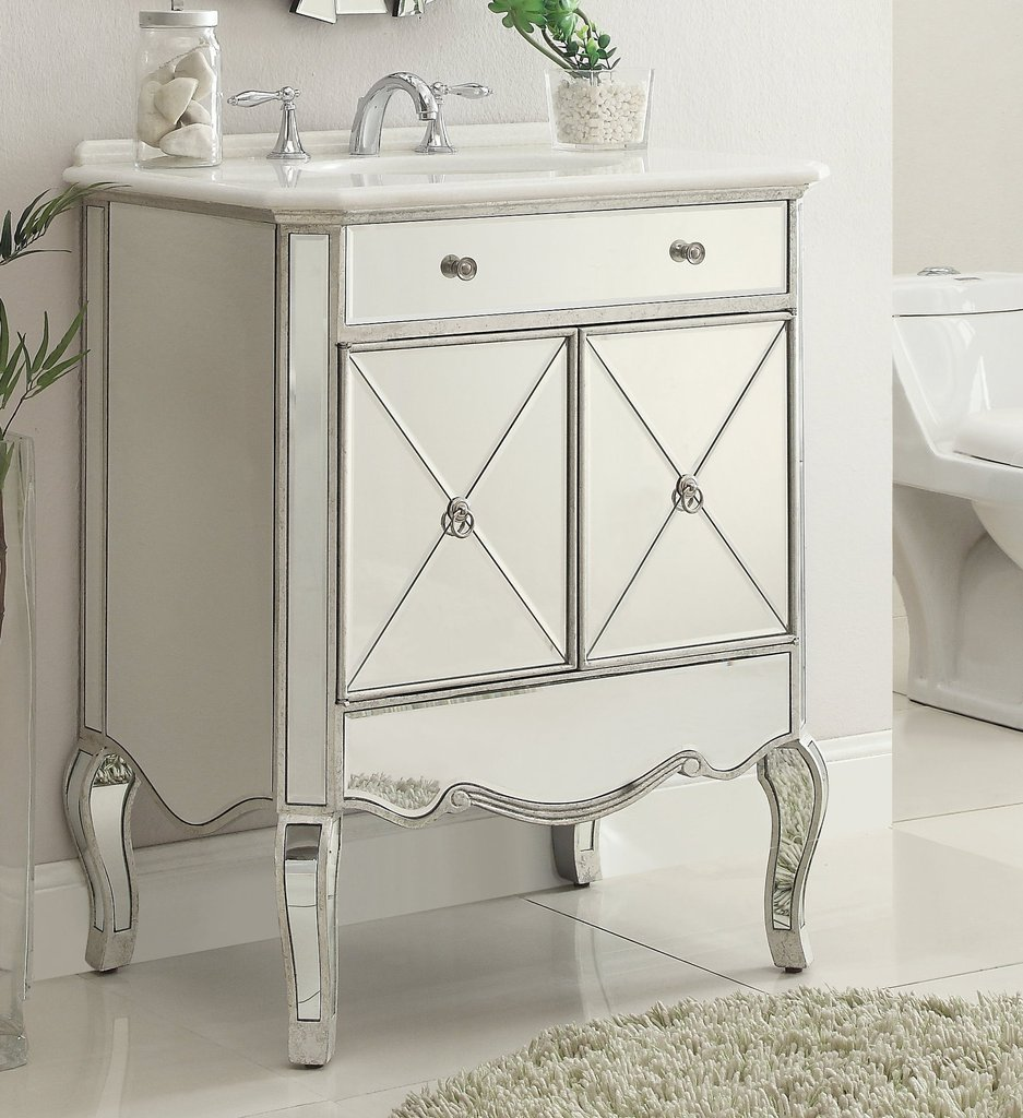 Chans Furniture Mf3 5106sc Adelisa 30 Inch Silver Bathroom Sink Vanity Mf3 5106sc Mf35106sc