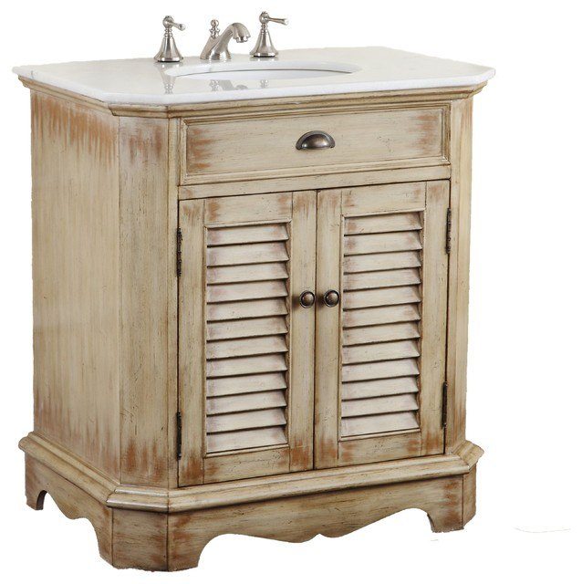 Chans Furniture Cf 47524 Fairfield 30 Inch Light Distressed Beige Bathroom Sink Vanity Cf 47524