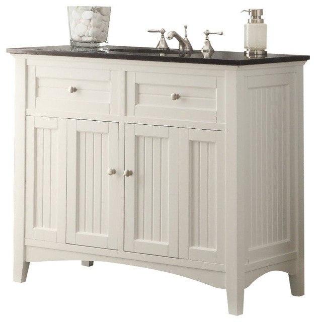 Chans Furniture Cf 47532gt Thomasville 42 Inch White Bathroom Sink Vanity Black Granite