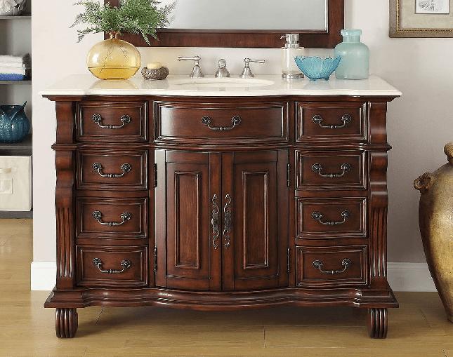 Chans Furniture Gd 4437m 50 Hopkinton 50 Inch Light Cherry Bathroom Sink Vanity Cream Marble