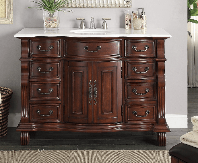 Chans Furniture Gd 4437w 50 Hopkinton 50 Inch Light Cherry Bathroom Sink Vanity White Marble