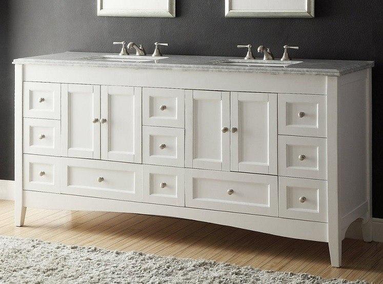 Chans Furniture HF086 Kenly 72 Inch White Bathroom Double Sink Vanity