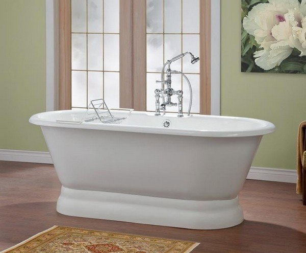 Cheviot 2165 WW 70 Inch Carlton Cast Iron Bathtub With Pedestal Base And Cont