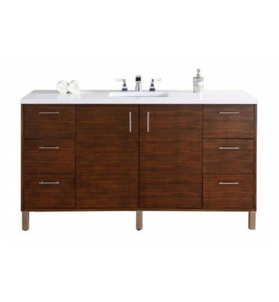 James Martin 850-V60S-AWT-4DSC Metropolitan 60 Inch American Walnut Single Vanity with Santa Cecilia Stone Top