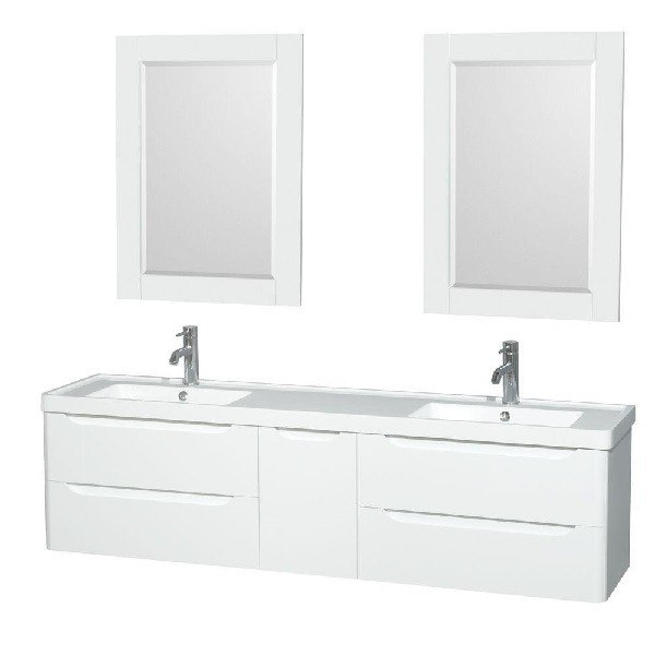 Wyndham Collection Wcs777772dgwarintm24 Murano 72 Inch Double Bathroom Vanity In Glossy White