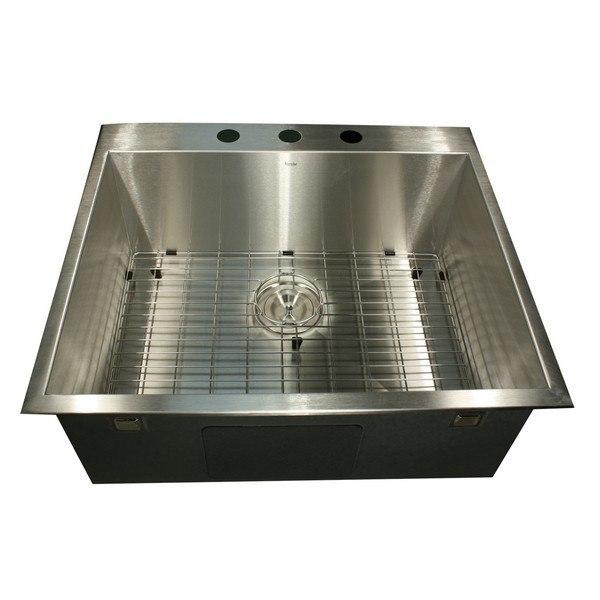 Nantucket Sinks ZR2522-16 Pro Series 25 Inch Small Rectangle Single Bowl Self Rimming Zero Radius Drop in Sink (3 Hole)-16 Gauge