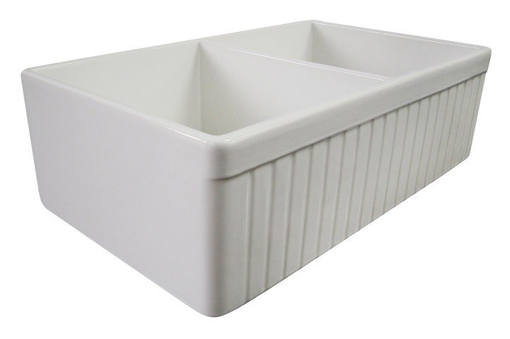 ... Brand AB537 Fluted 32 Inch Double Bowl Fireclay Farmhouse Kitchen Sink