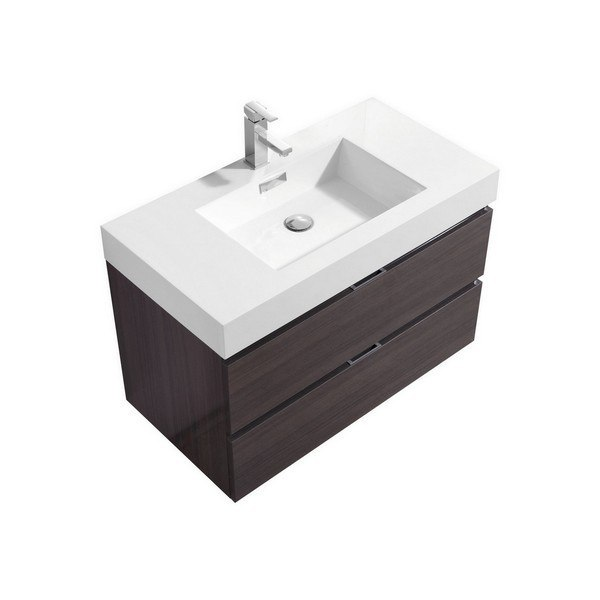 Kubebath Bsl36 Hggo Bliss 36 Inch High Gloss Gray Oak Wall Mount Modern Bathroom Vanity Bsl36