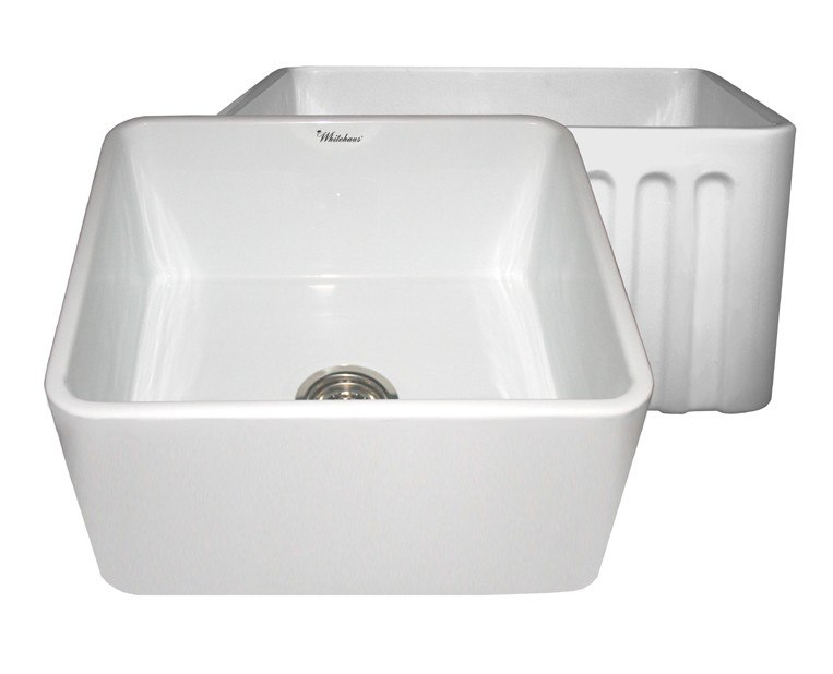 ... 20 Inch Fireclay Sink w/ Smooth Front Apron / Fluted Front Apron