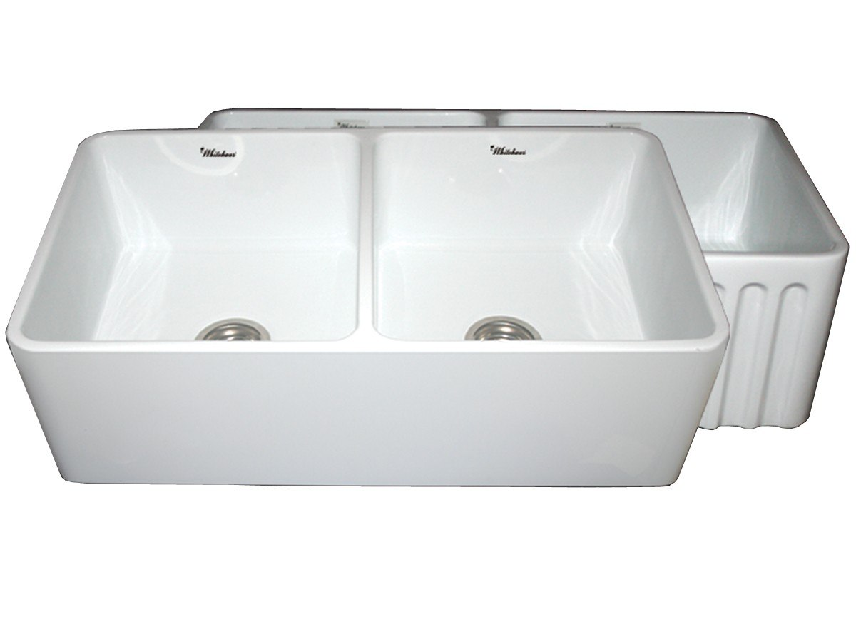 Whitehaus whflpln3318 reversible series 33 inch fireclay for 33 inch white fireclay farmhouse sink