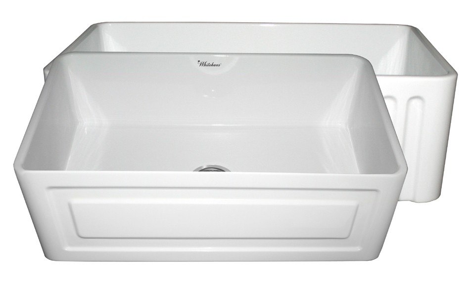 Whitehaus WHFLRPL3018 Reversible Series 30 Inch Fireclay Sink w/ Raised Panel Front Apron  / Fluted Front Apron