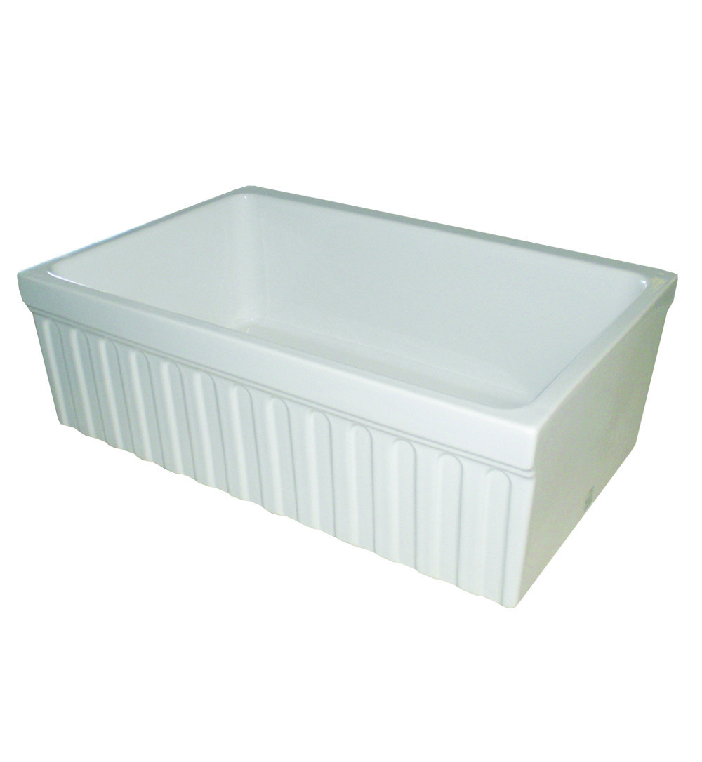 30 Inch Apron Front Sink : ... Quatro 30 Inch Alcove Reversible Fireclay Sink w/ Fluted Front Apron